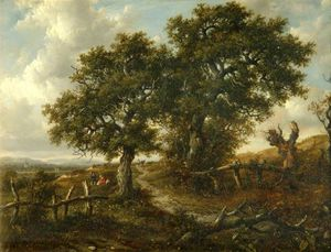 Patrick Nasmyth - Landscape With Trees And Figures In The Foreground, A Church In The Distance