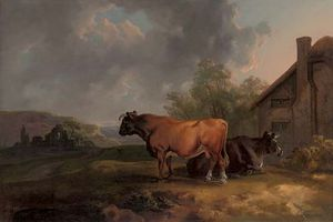 Sawrey Gilpin - Cattle In A Landscape By A Cottage, With Ruins Beyond