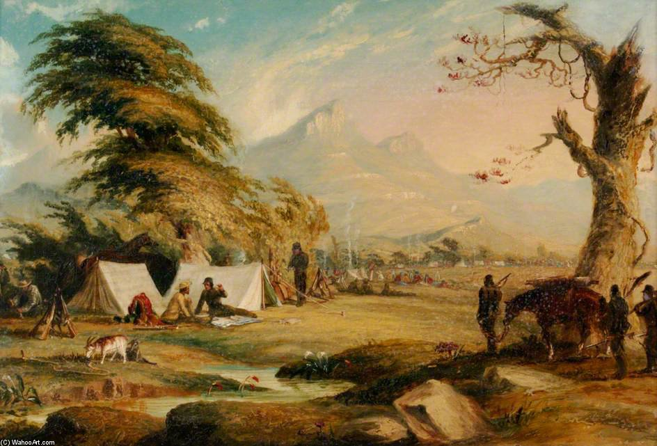 Camp Scene by Thomas Baines (1820-1875, United Kingdom)