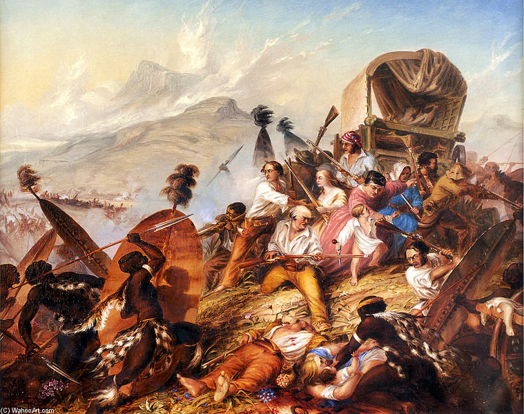 Depiction Of A Zulu Attack On A Boer Camp by Thomas Baines (1820-1875, United Kingdom)