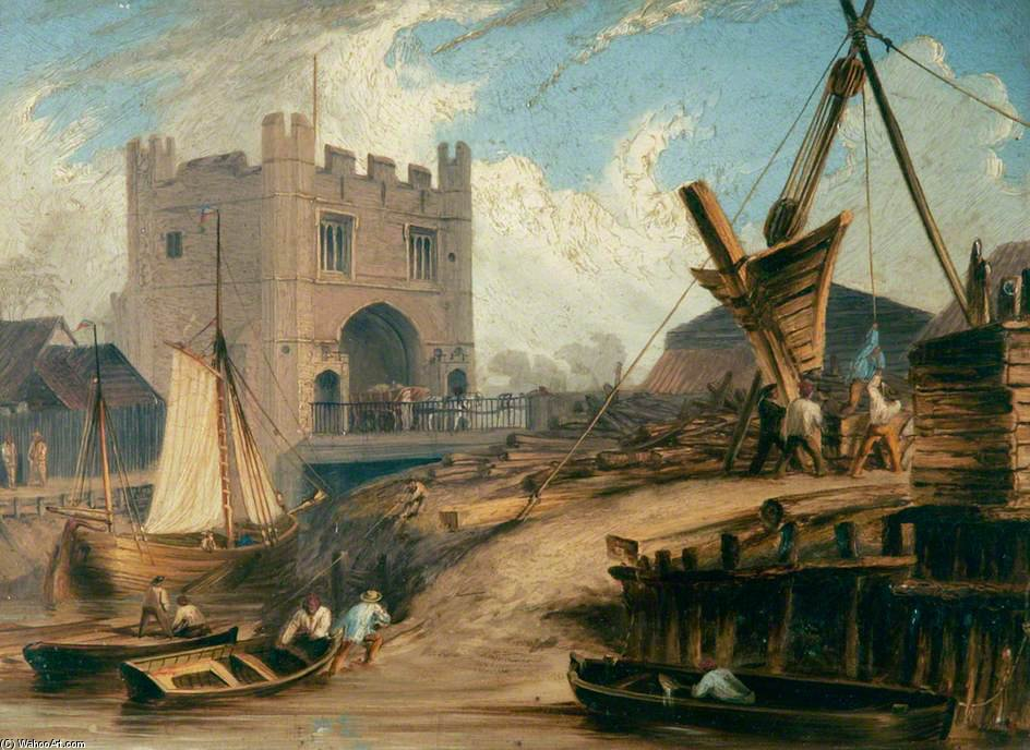 South Gates, King's Lynn, Norfolk by Thomas Baines (1820-1875, United Kingdom)