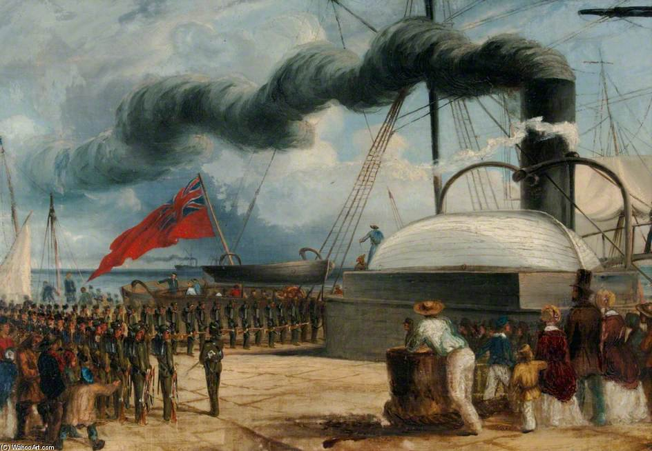 The Battalion Embarks At Dover On Hm Steamship 'magaera' by Thomas Baines (1820-1875, United Kingdom)