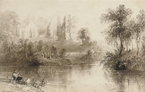 Order Museum Quality Copies | Figures On A River Bank by William Henry Bartlett (1809-1854, United Kingdom) | WahooArt.com