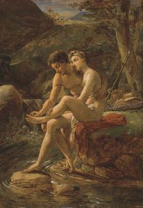 Louis Hersent - Daphnis Pulling A Thorn From Chloe-s Foot By A River