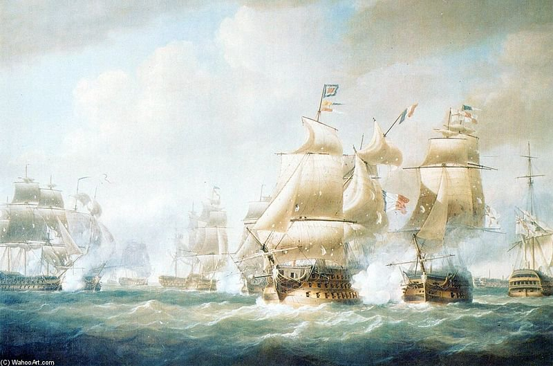 Destruction Of The French Squadron Of Admiral Leissegues At Santo-domingo by Nicholas Pocock (1740-1821, United Kingdom)
