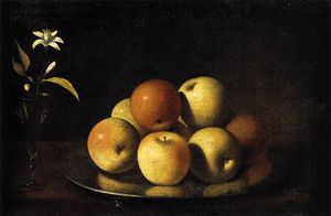 Juan De Zurbaran - Still-life With Plate Of Apples And Orange Blossom