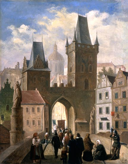 Procession On The Karlsbrücke by Jules Worms (1832-1924, France)