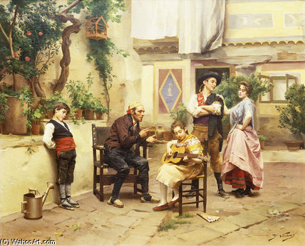 The Guitar Lesson by Jules Worms (1832-1924, France)