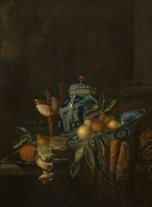 Juriaen Van Streeck - Still Life With Fruit And Blue And White China
