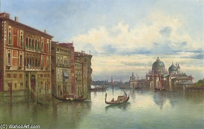 On The Grand Canal Before Santa Maria Della Salute, Venice by Karl Kaufmann (1843-1905, Austria) | Paintings Reproductions Karl Kaufmann | WahooArt.com