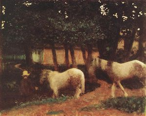 Karoly Ferenczy - Evening Mood With Horses