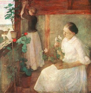 Karoly Ferenczy - Girls Attending To Flowers