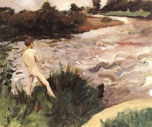 Karoly Ferenczy - Gloomy Landscape With Bather