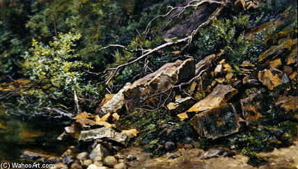 A Rocky Bank by Keeley Halswelle (1832-1891, United Kingdom)