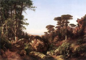 Karoly Marko The Elder - Forest Scene At Ailo In Corsica