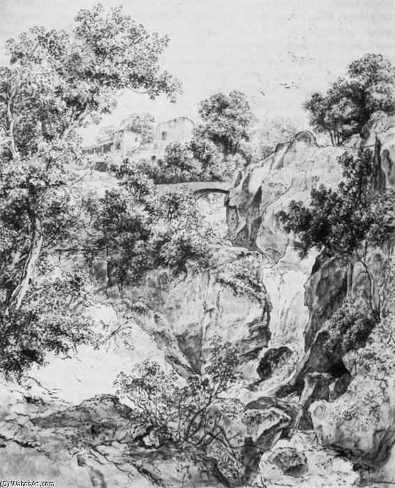 Landscape With Waterfall by Karoly Marko The Elder (1791-1860, Hungary)