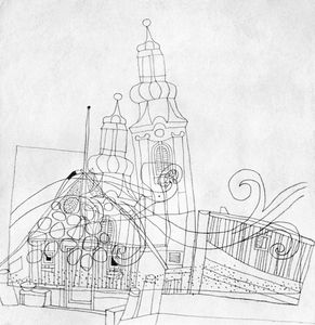 Lajos Vajda - Church Towers With Harbour Motifs