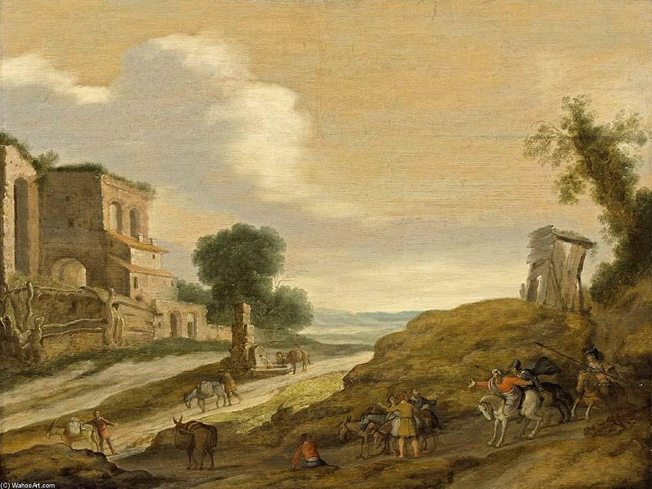 Order Reproductions | Joseph`s Brothers On The Road From Egypt by Lambert Jacobszoon (1598-1636) | WahooArt.com