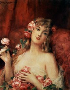 Leon Francois Comerre - Woman With A Rose