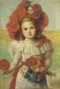 Leon Herbo - Coquelicot - A Young Girl With Poppies