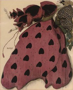 Leon Bakst - Costume Design For A Lady In Red
