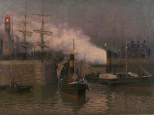 Lionel Walden - Entrance To Cardiff Docks, Evening