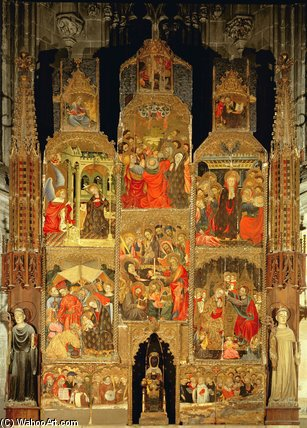 Order Painting Copy : Altarpiece Of The Virgin by Lluis Borrassa (1375-1425, Spain) | WahooArt.com