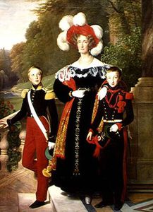 Louis Hersent - Marie Amelie Of Bourbon-sicile And Her Sons, Henri Of Orleans Duke Of Aumale A