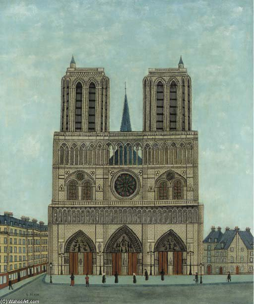 Cathédrale De Notre Dame by Louis Vivin (1861-1936, France) | Famous Paintings Reproductions | WahooArt.com