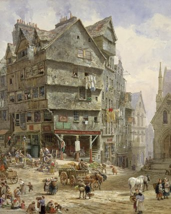 The High Street From The West Bow, Edinburgh by Louise Rayner (1832-1924, United Kingdom) | Famous Paintings Reproductions | WahooArt.com
