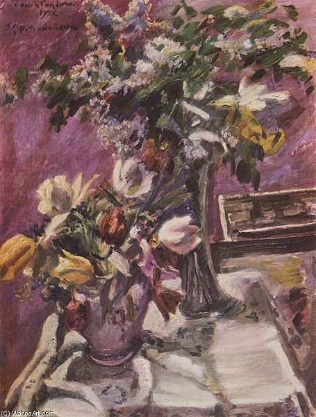 Lilac And Tulips by Lovis Corinth (Franz Heinrich Louis) (1858-1925, Netherlands)