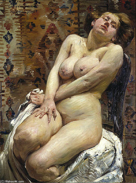Nana, Female Nude by Lovis Corinth (Franz Heinrich Louis) (1858-1925, Netherlands) | Art Reproduction | WahooArt.com