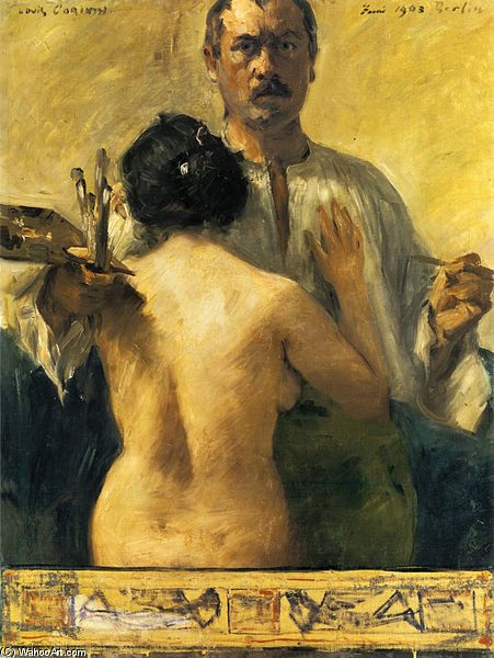Self-portrait With Model by Lovis Corinth (Franz Heinrich Louis) (1858-1925, Netherlands)