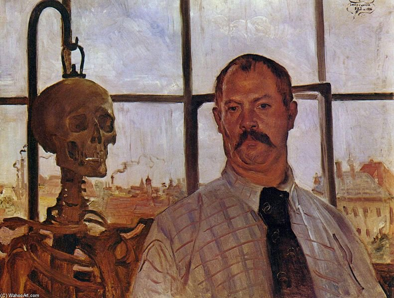 Self-portrait With Skeleton by Lovis Corinth (Franz Heinrich Louis) (1858-1925, Netherlands) | Famous Paintings Reproductions | WahooArt.com