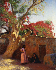 Ludwig Deutsch - An Arab Family Outside A Village