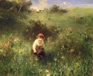 Ludwig Knaus - A Young Girl In A Field -