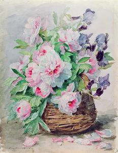Madeleine Jeanne Lemaire - Irises And Peonies In A Basket