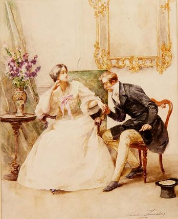 The Suitor by Madeleine Jeanne Lemaire (1845-1928, United Kingdom)