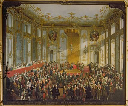 Empress Maria Theresa At The Investiture by Martin Ii Mytens (1695-1770, Austria) | Museum Quality Copies Martin Ii Mytens | WahooArt.com