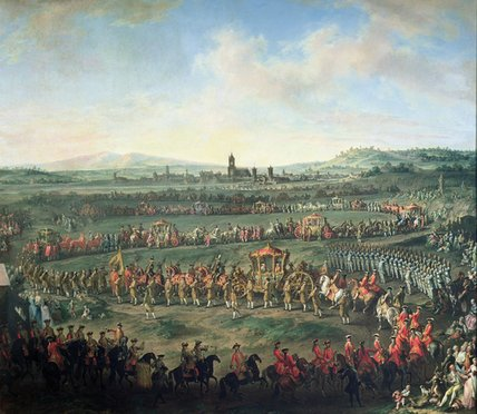 Buy Museum Art Reproductions | The Entrance Of Emperor Francis I Into Frankfurt, by Martin Ii Mytens (1695-1770, Austria) | WahooArt.com