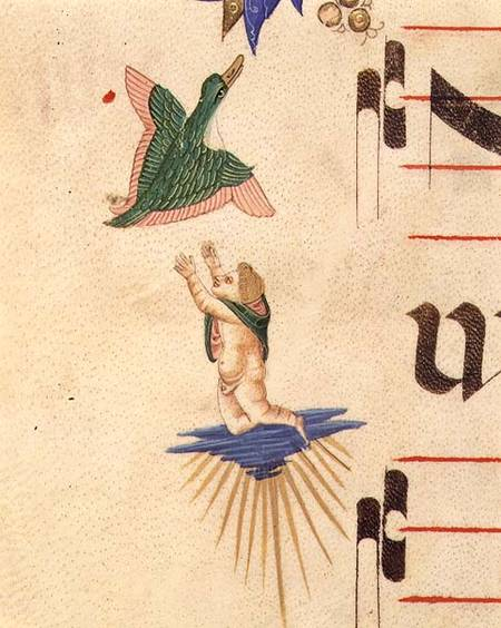 A Cloaked Cherub Trying To Catch A Flying Bird, From A Decorative Border by Matteo Di Filippo Torelli (1365-1442) | Museum Quality Reproductions | WahooArt.com
