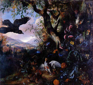 Order Art Reproductions | Landscape With Drugged Birds In The Flowers And Underbrush Of A Wood by Matthias Withoos (Calzetta Bianca) (1627-1703, Netherlands) | WahooArt.com