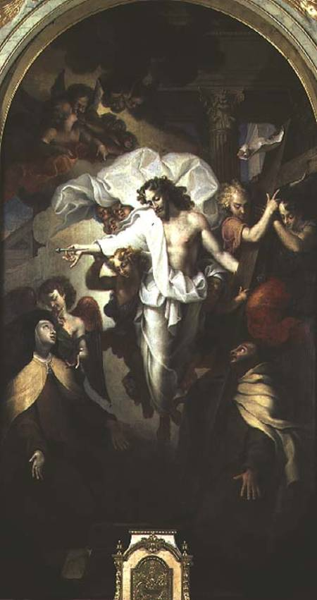 Christ Resurrected Between St. Theresa Of Avila And St. John Of The Cross ), 1524 by Michel Des Gobelins Corneille (1642-1708, France) | Art Reproductions Michel Des Gobelins Corneille | WahooArt.com