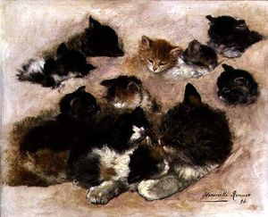 Henriette Ronner Knip - Study Of Cats And Kittens