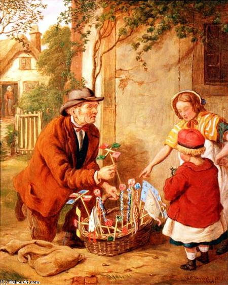 The New Toy - by Henry Charles Bryant (1835-1915, United Kingdom) | Art Reproductions Henry Charles Bryant | WahooArt.com
