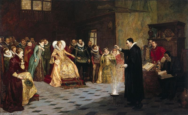 John Dee Performing An Experiment Before Queen Elizabeth I. by Henry Gillard Glindoni (1852-1913, United Kingdom)
