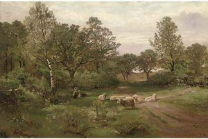 Order Art Reproduction : A Summer Afternoon Near Tettenhall Wood by Henry Hadfield Cubley (1858-1934, United Kingdom) | WahooArt.com