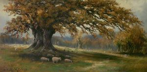 Order Painting Copy : Autumn, Albury Park, Surrey by Henry Hadfield Cubley (1858-1934, United Kingdom) | WahooArt.com