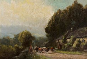 Henry Hadfield Cubley - Cattle On A Country Road
