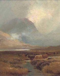Henry Hadfield Cubley - Cattle Watering In A Highland